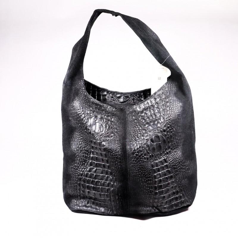 Kabelka kožená shopper Julies choice Coccodrillo vp030 čierna, béžová