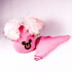 Zimná detská čiapka + šál Audrey ZCDE012 ružová