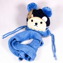 Zimná detská čiapka + šál Matyas ZCDE010 modrá