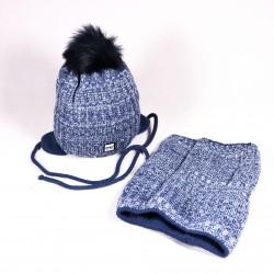 Zimná detská čiapka + šál Jacob ZCDE011 modrá